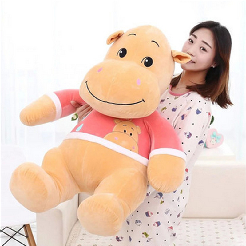 Fancytrader 33'' / 85cm NEW Large Plush Soft Animal Hippo Toy Stuffed Lover Cartoon Hippos Doll Kids Gift fancytrader 2015 new 31 80cm giant stuffed plush lavender purple hippo toy nice gift for kids free shipping ft50367