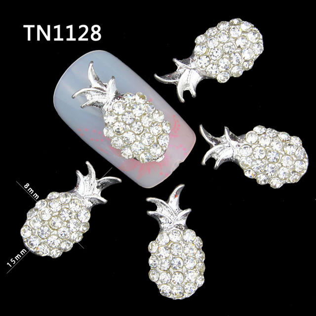 10 piezas 3D decoración de uñas Diy brillo aleación de plata encanto claro diamantes de imitación fruta piña para herramientas de uñas