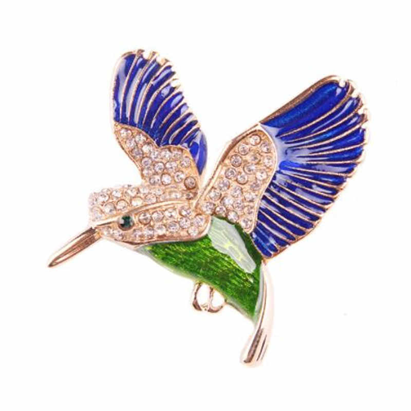 Wkoud Burung Baru Gaya CZ Berlian Imitasi Hummingbird Bros untuk Wanita Kecil Cute Hewan Bros Pin Gaun Mantel Aksesoris