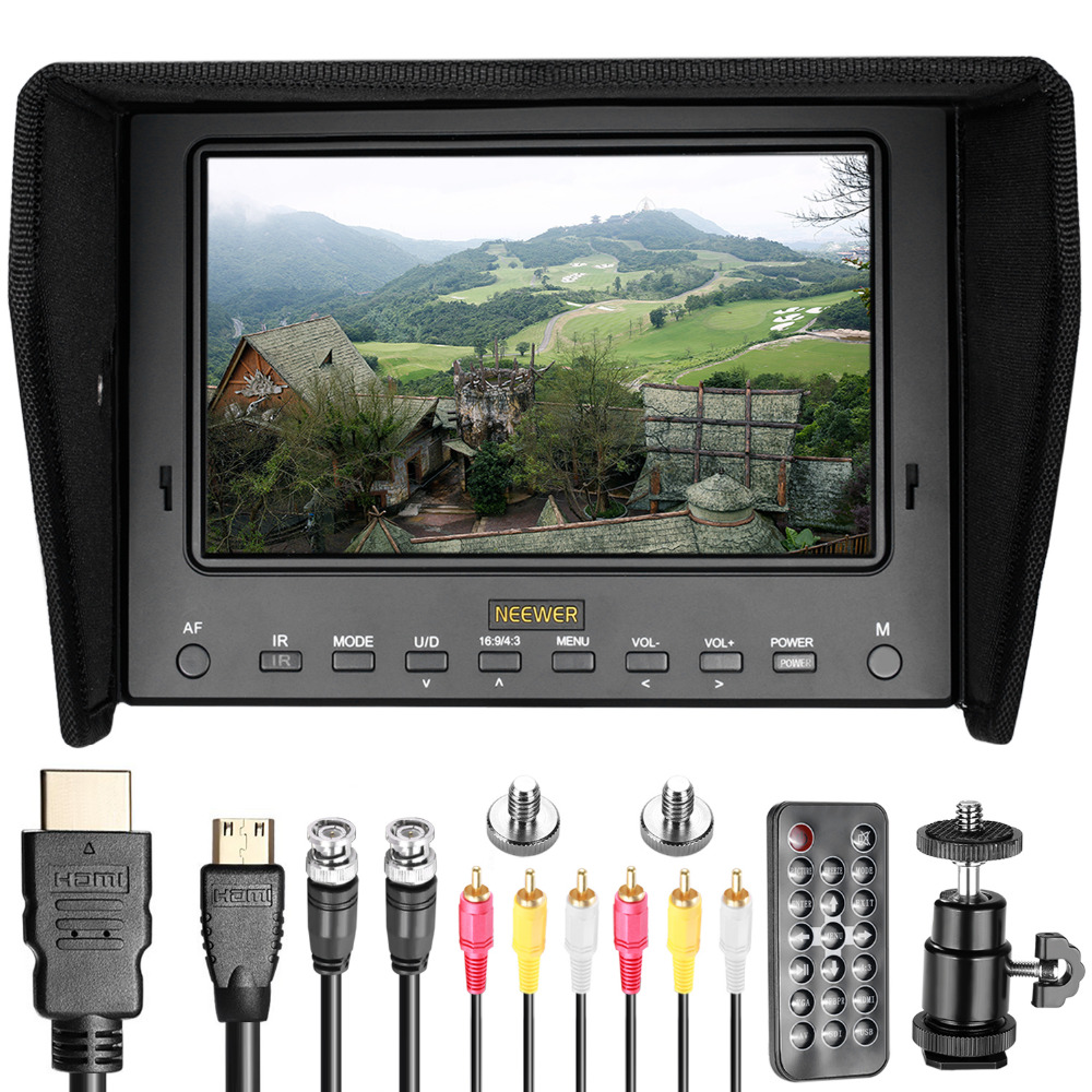 Neewer 7 inches HD On-Camera Field Monitor with Remote Control HDMI Signals IPS Screen 1280x800 Resolution For Canon/Nikon aputure digital 7inch lcd field video monitor v screen vs 1 finehd field monitor accepts hdmi av for dslr