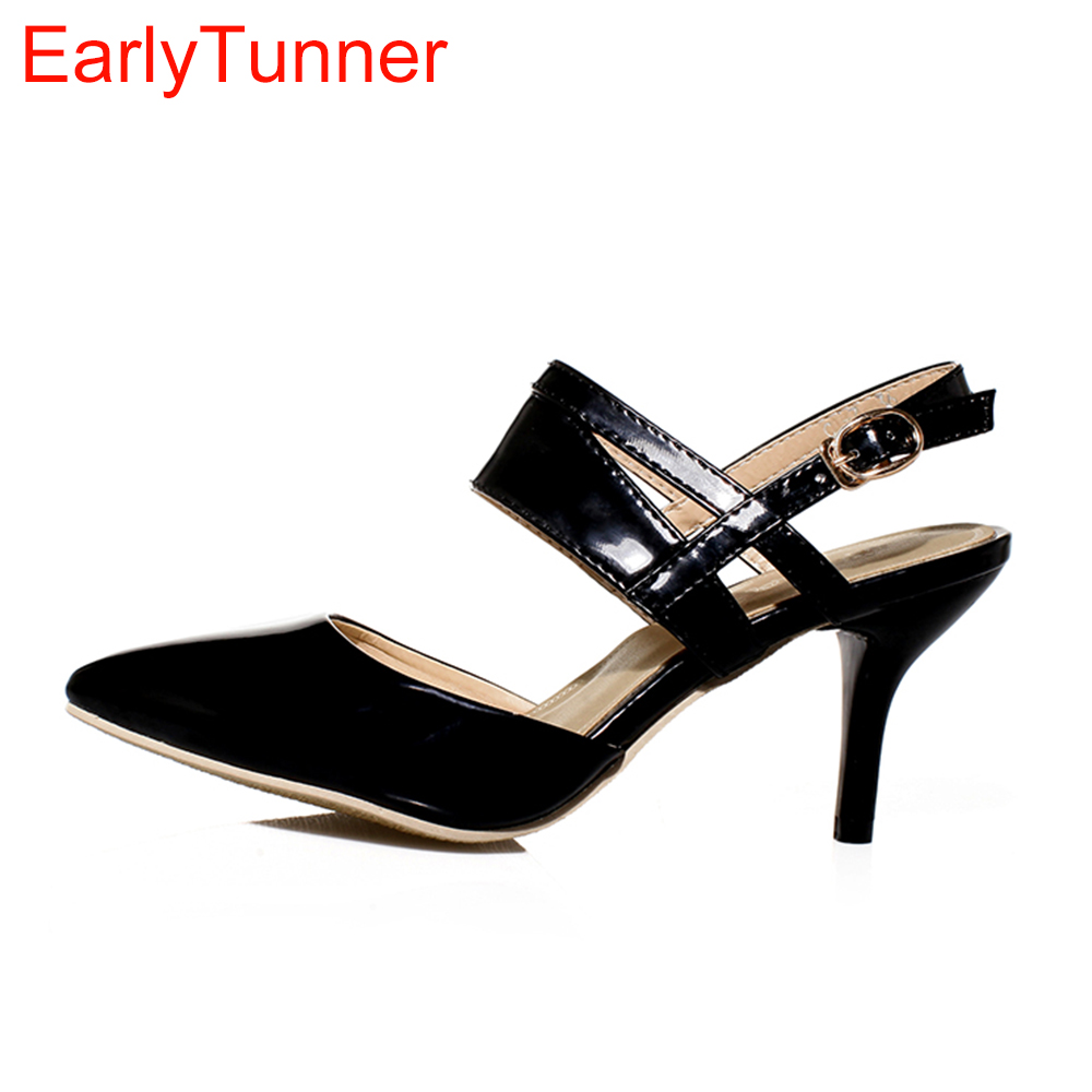 Brand New Sales Sexy Green Beige Red Women Glossy Nude Sandals Elegant Office Lady Slingback Shoes EB-6 Plus Big Size 10 31 46 brand new hot sale blue red yellow black green glossy patent leather women nude flats ladies shoes av123 plus big size 49 10 13