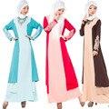 2016 Abaya Turco Mulheres Roupa Do Laço Patchwork Plus Size XL Longo Vestidos Maxi Manga Comprida Muçulmano Vestido Islâmico Abaya Malásia