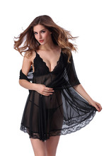 Sexy Lingerie Sleepwear for Women Lace Cotton Sheer Scalloped Nightgown S M L XL 2XL стоимость
