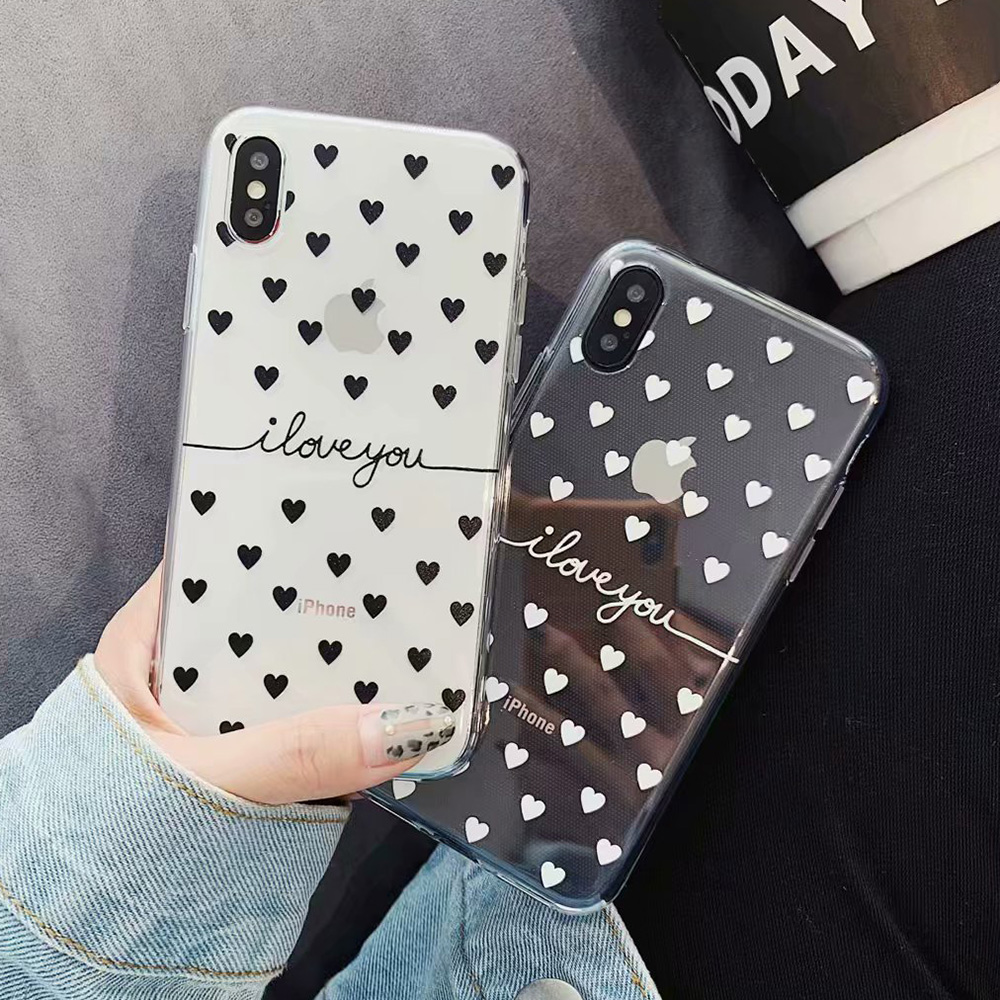 KIPX1078_6_JONSNOW Clear Case For iPhone 6 6S 7 8 Plus XS XR XS Max Black White Heart Pattern Soft Silicone Protect Back Cover Capa Fundas
