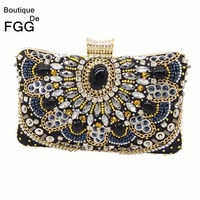 Women Brand Black Beaded Sequined Diamond Applique Handbag Wedding Party Chains Crystal Clutches Purse Satin Evening