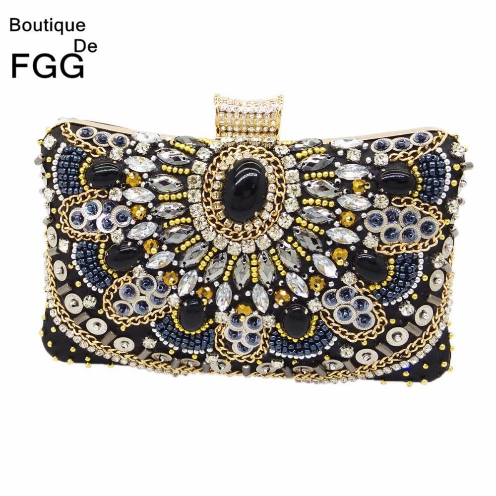Women Black Satin Evening Clutch Bag Ladies Diamond Crystal Day Clutches Purses Female Wedding Party Bridal Handbag With Chain xiyuan brand evening clutch bag ladies diamond crystal day clutches purses female wedding party bridal handbag with chain