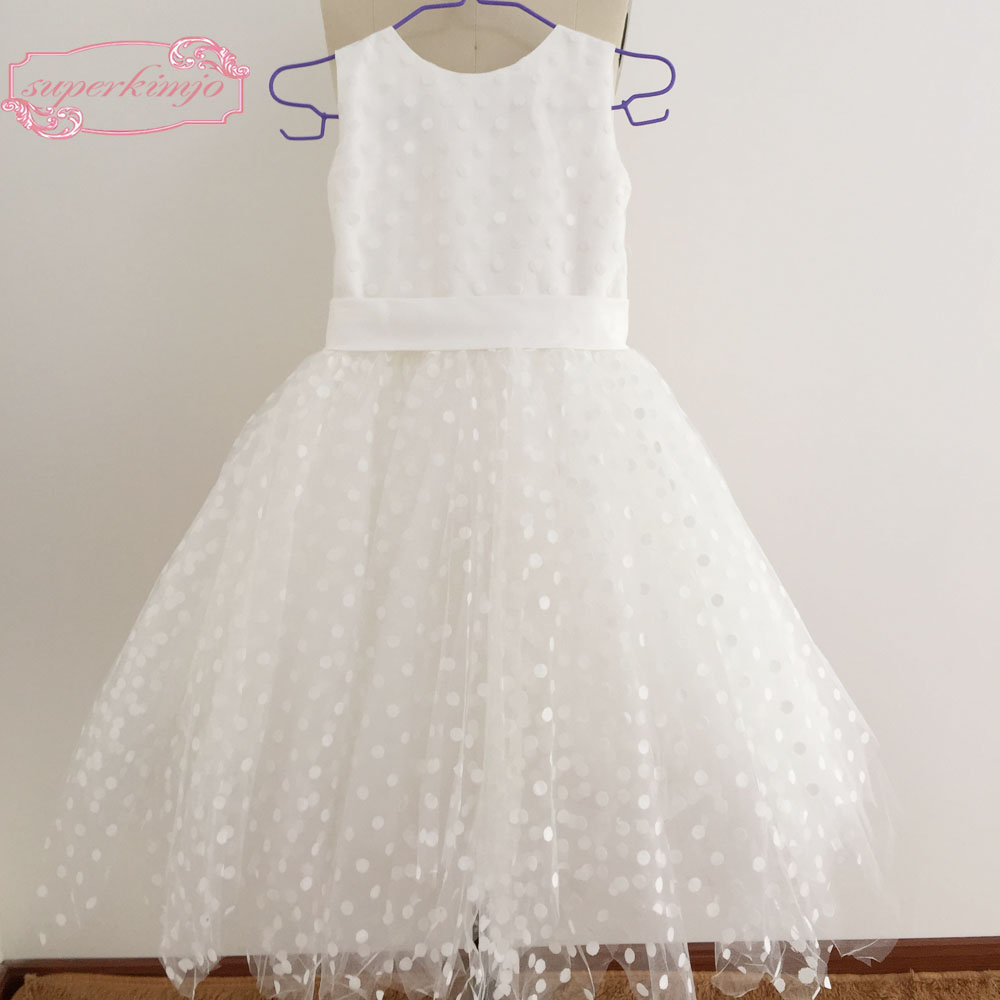 Cute Little   Flower     Girls     Dress   Crew Neckline Dotted Tulle Floor Length Little   Flower     Girls     Dresses   Real Picture