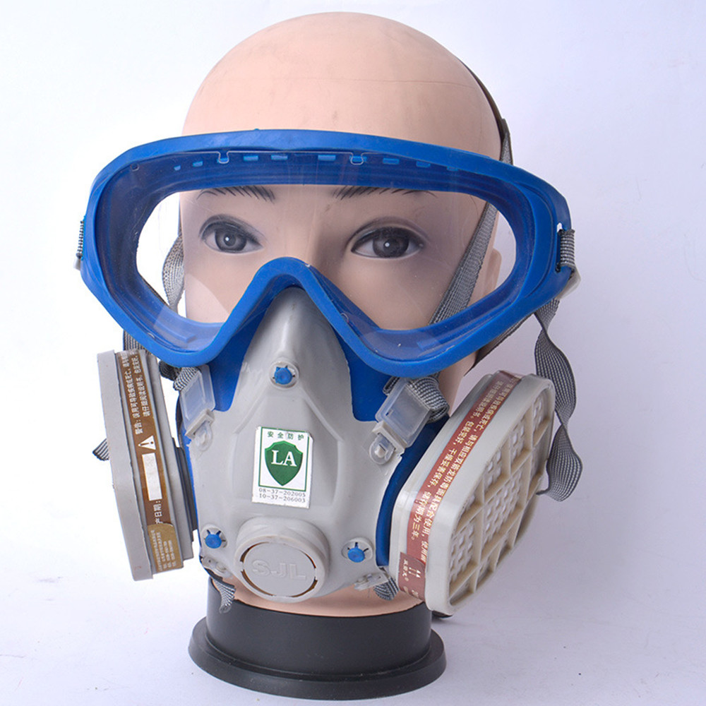Pro Full Gas Mask Respirator with Goggles Anti-Gas Anti-Dust Chemical Protective Mask Activated Carbon Fire Escape Breathing Set