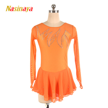 customized clothes figure skating dress rhythmic gymnastics adult child girl show skirt competition orange long sleeve