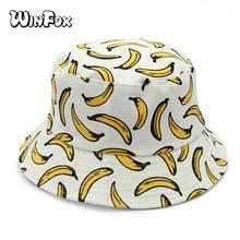 Winfox New Women Reversible White Banana Printed Fisherman Bucket Hats For Ladies Girls