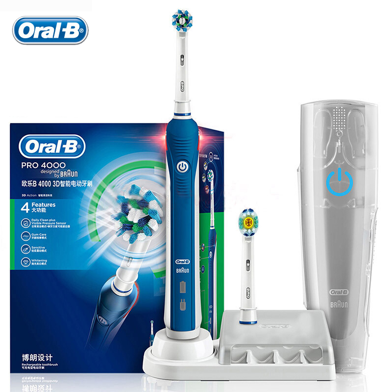 Oral B Pro4000 3D Smart Electric Toothbrush D20525 Pressure Sensor 4 Modes 48800 Times Brushing/Min Teeth Whitening Deep Clean image