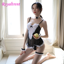 Exotic Apparel French Sexy Maid Costume Passion Suit Lingerie Collar Hair Band Temptation Role-Playing Cute