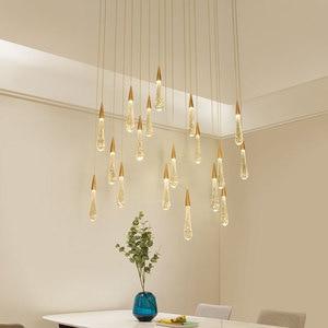 LED Water Drop pendant light minimalist Scandinavian loft Crystal & metal Hanging Lamp Nordic art and creative restaurant light(China)
