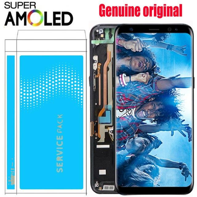 ORIGINAL S8 LCD con marco con quemar sombra para SAMSUNG Galaxy S8 G950 G950F pantalla S8 más G955 G955F contacto digitalizador de pantalla táctil