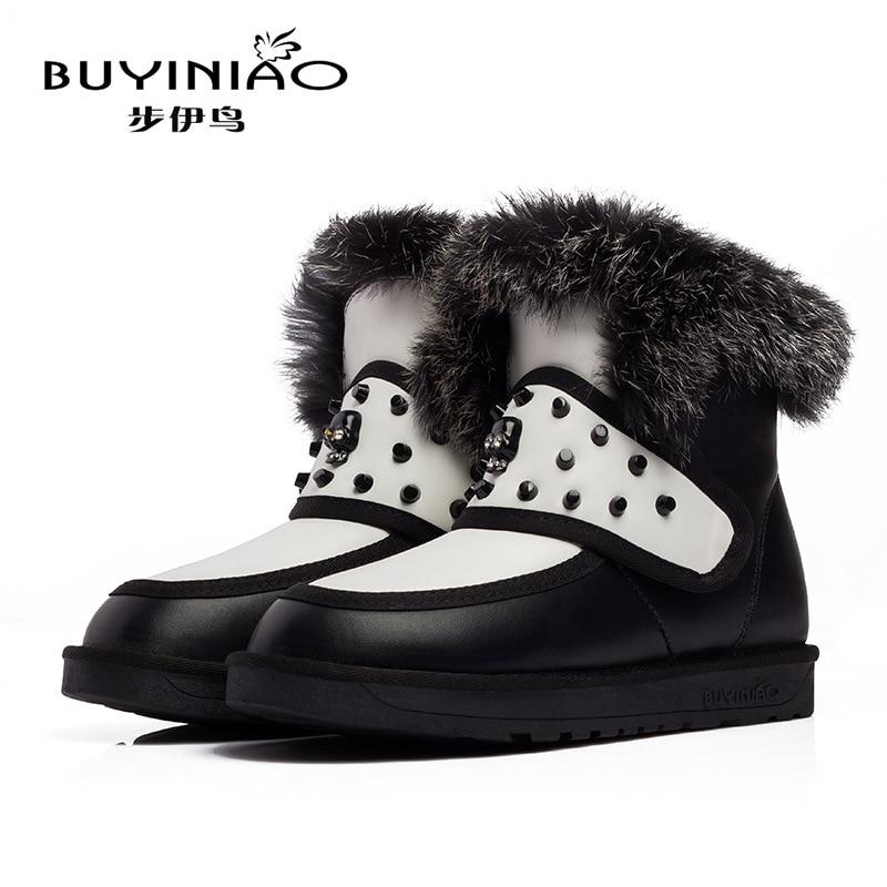 ФОТО 2016 New Arrival Luxury Designer Women Snow Boots Rivets Winter Boots Rhinestone Skull Hook&Loop Boots Rabbit Fur Botas Mujer
