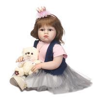 70 см элегантные вьющиеся волосы принцессы Reborn для маленьких девочек куклы силиконовая кукла подарок для девочки Juguetes Brinquedos неожиданностью