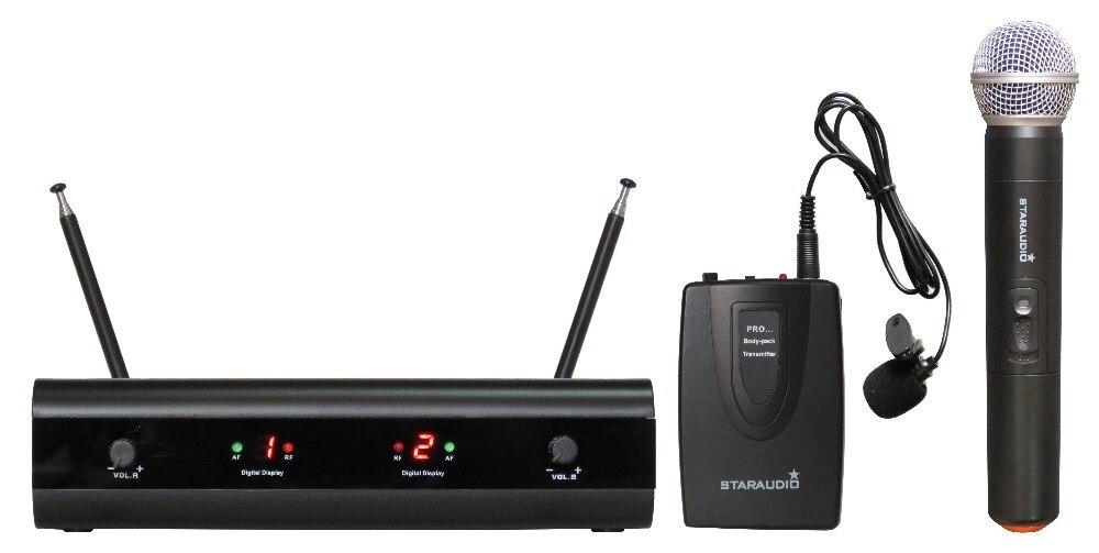 STARAUDIO SMVB-2001A+B Pro 2CH Dual Black Wireless VHF Headset & Handheld  Microphone System Mic