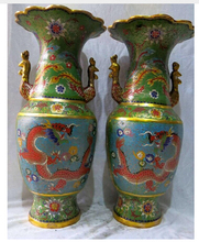 Copper Brass CHINESE crafts decoration Asian    18″ China bronze gold Cloisonne exquisite dragon phoenix Vases pair Sculpture ST