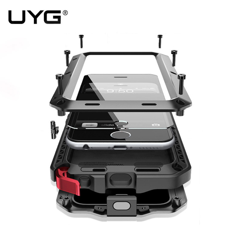 UYG Waterproof For <font><b>iphone</b></font> 6 case Luxury armor Metal Heavy Duty 360 degree protection cover for <font><b>iphone</b></font> 6s case+Tempered glass