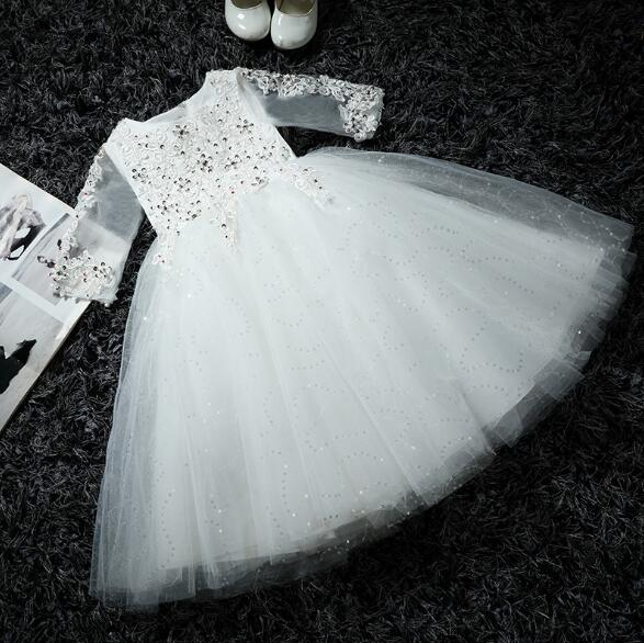 Girl's Formal Dress 2018 Flower Girls Wedding Dresses Kids Gauze Sequins Party Ball Gown Children's Long Prom Dress White 3-13Y seiko qxa603w