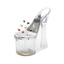 PVC Transparent Heels Womens Summer Shoes Sexy Gladiator Sandals Fashion Clear High For Women Slipper MS-A0057