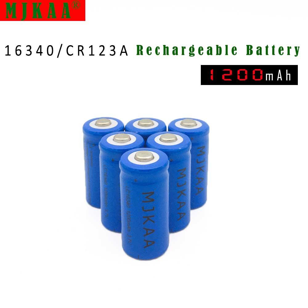 10pcs 16340 1200mah Rechargeable Battery CR123A 3.7V 1200mAh li-ion Batteries