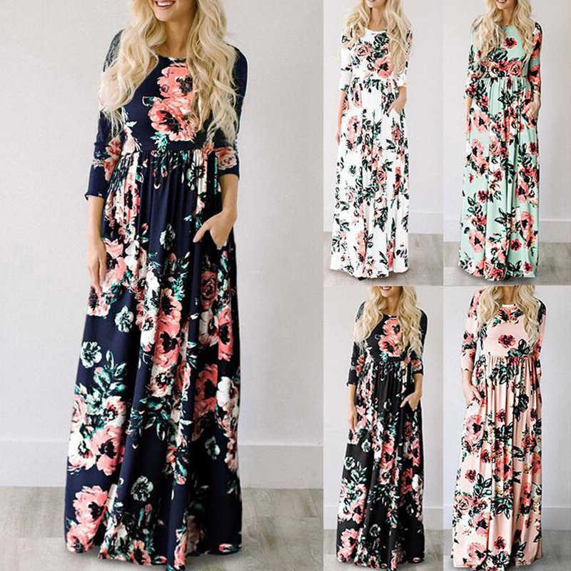 Été Maxi robe femmes 2019 rose Floral imprimé Boho plage robe dames soirée longue robe robe d'été robes de festa 3XL