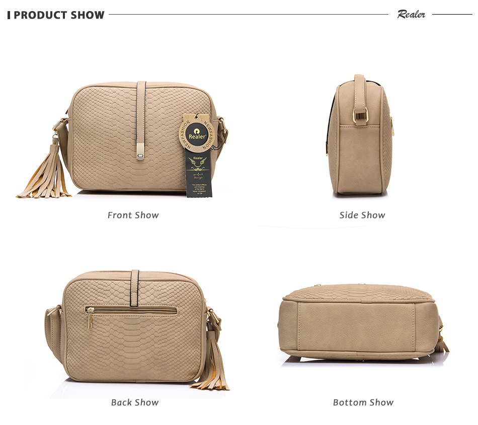 REALER brand small shoulder bag for women messenger bags ladies PU leather handbag purse tassels female crossbody bag women 2019 13