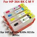 1 conjunto de tinta Para hp364 364XL Cartucho de tinta Recarregáveis para HP photosmart além Disso B209a B210a B209c B210c 3070A impressora com chip de 4 cor