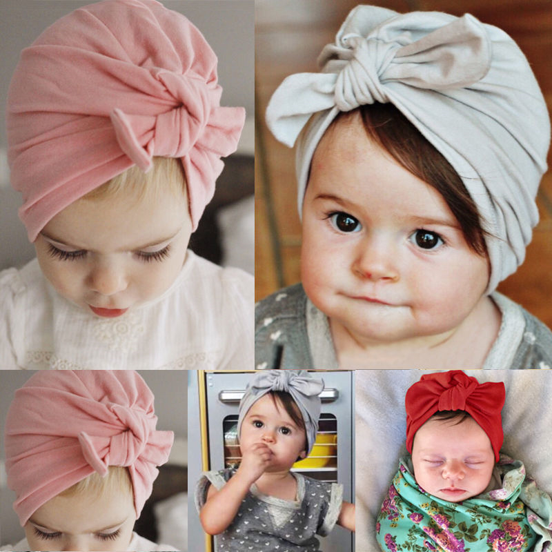 Sweet Baby Girl Hat with Bow Candy Color Baby Turban Cap Girls Bow Knot Beanie Hat Bunny Cap Newborn Hats Props Hair Accessories защитный детский шлем