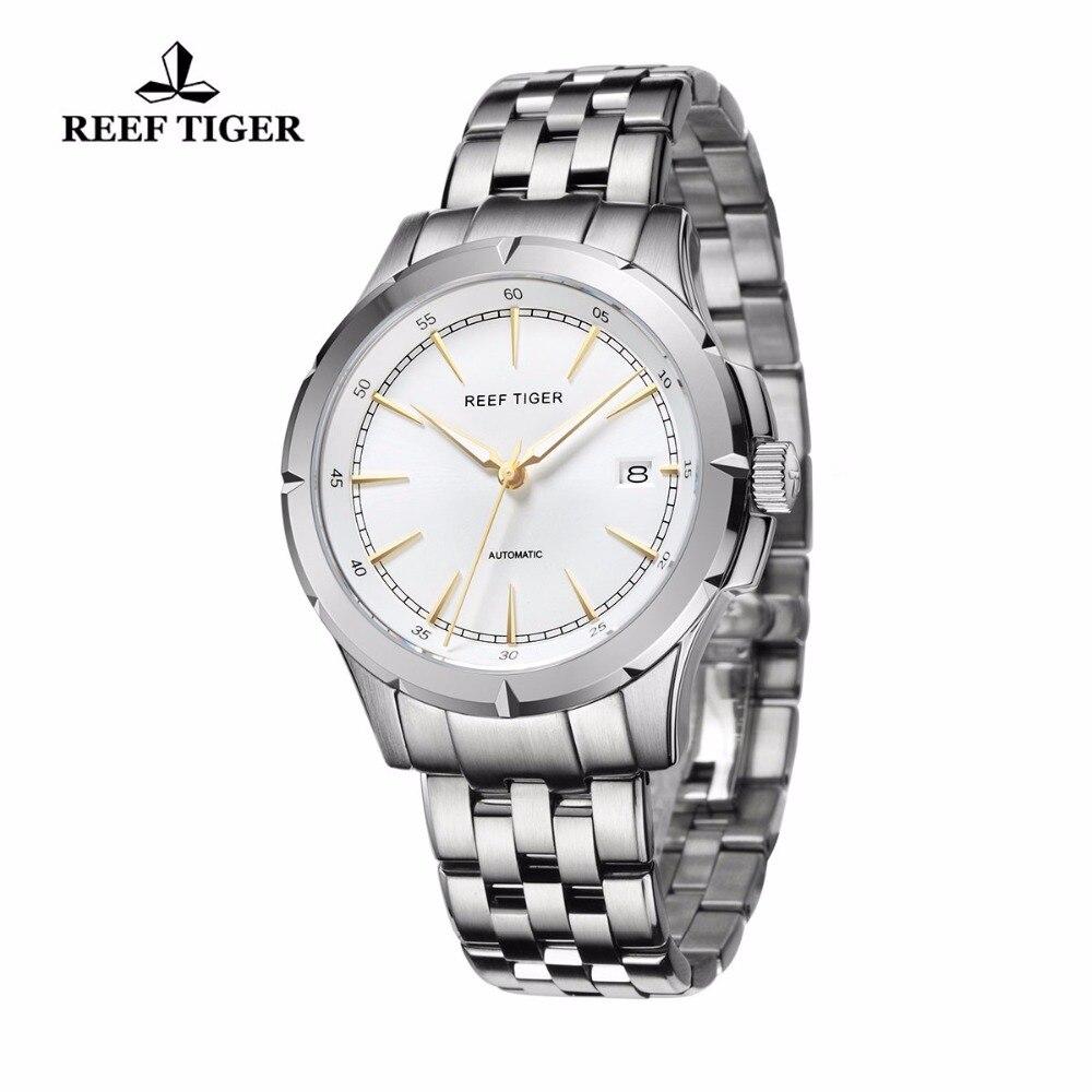 Relojes Reef Tiger/RT de nueva llegada relojes de vestir de negocios fecha automática relojes luminosos de acero para hombre RGA819-in Relojes mecánicos from Relojes de pulsera    2