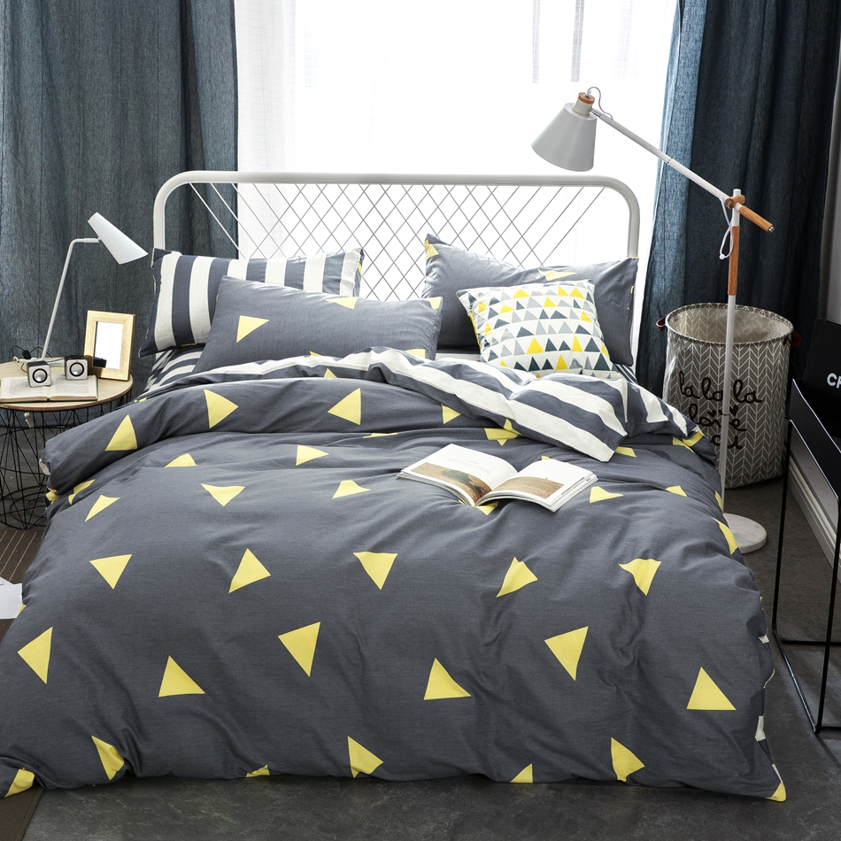 online get cheap grey patterned sheets aliexpresscom  alibaba group - grey duvet cover set  cotton stripes bed sheets triangle pattern duvetcover pillow case