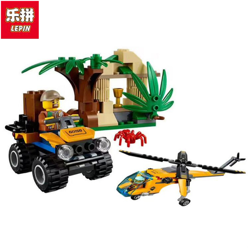 Lepin 02080 215PCS New Genuine City Series Jungle Cargo Helicopter Building Blocks Bricks Educational Toys for Children gifts city series helicopter surveillance building blocks policeman models toys children boy gifts compatible with legoeinglys 26017