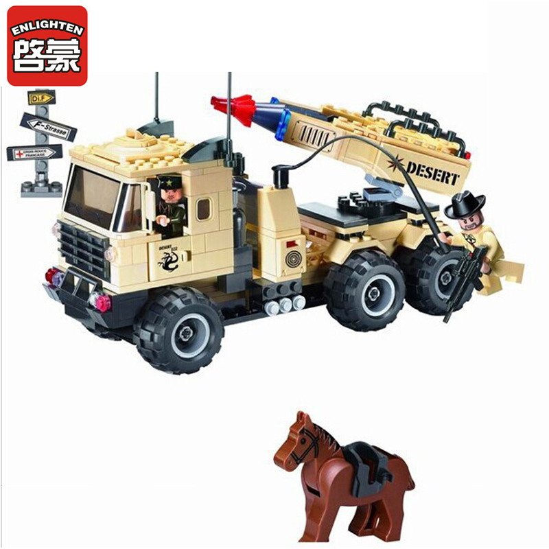 ENLIGHTEN 822 Military Series Missile Car Figure Blocks Classic Construction Building Bricks Toys For Children Compatible Legoe ausini95 automatic rifle military arms building blocks educational toys for children plastic bricks best friend legoe compatible