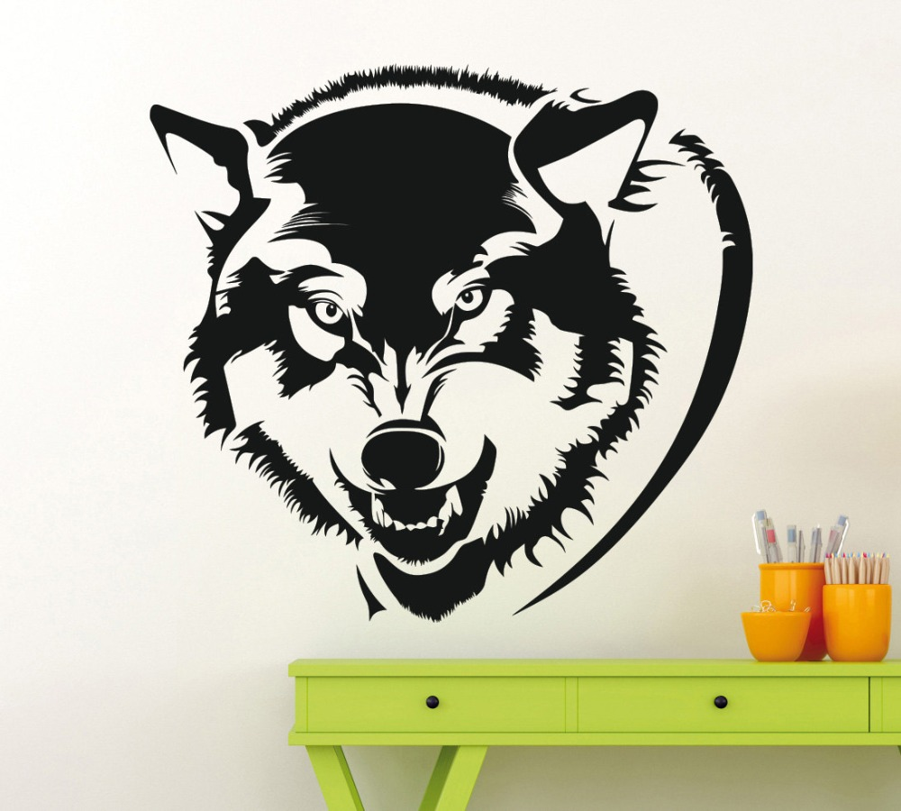 Wolf head pattern special designed wall decals home for Wallpaper decals
