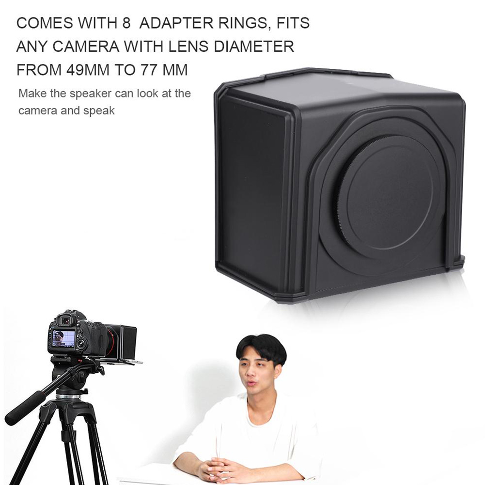 T1 DSLR Camera Professional Teleprompter Set Easy Operate Photo Studio ABS Interview Portable With Adapter Ring