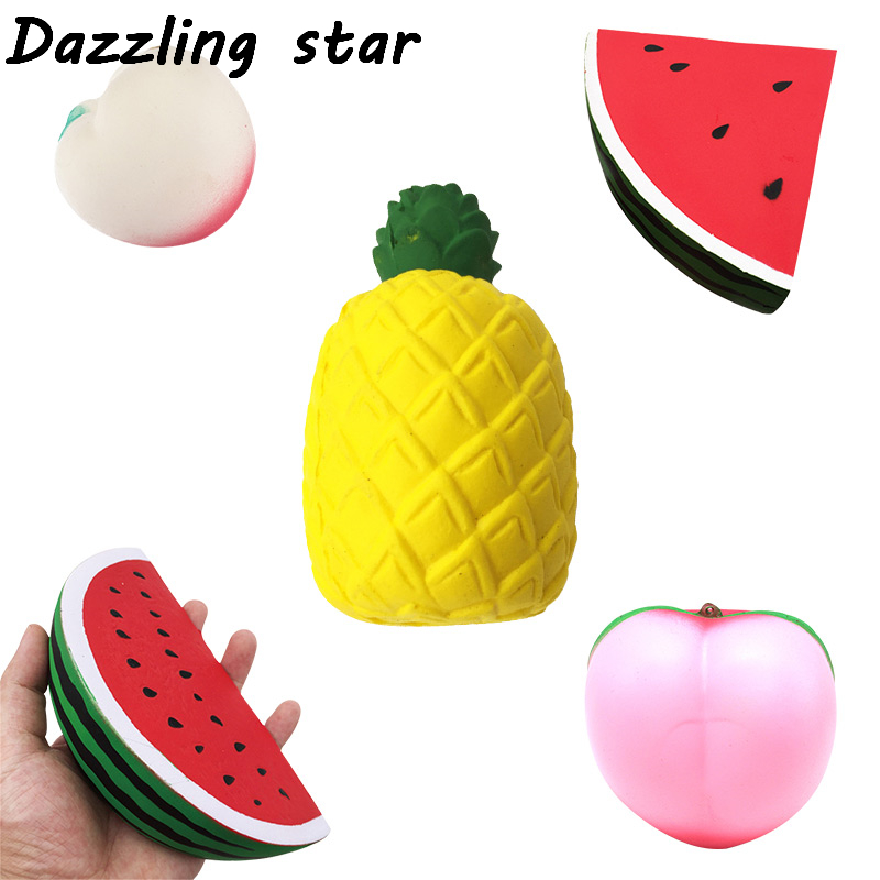Antistress Pineapple Strawberry Peach Fruits Squeeze Soft Slow Rising Phone Key Chain Strap Roll Squishes PU Squishies Toys