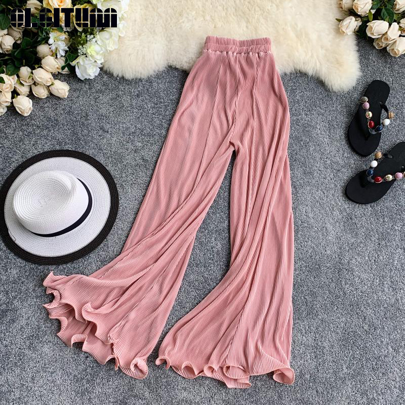 Retro Wide Leg Pants Women Casual 2019 Summer Elastic Waist Solid Loose Pants High Waist Flare Pants Trousers Female
