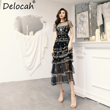 Dress Runway Overlay Delocah Party Spring Summer Vintage Floral Elegant Long Fashion