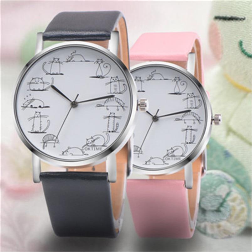 Smart New Women Watch Cute Kitty Pattern Fashion Rhinestone Quartz Watches Casual Cartoon Leather Clock Girls Kids Wristwatch Femme Watches