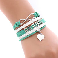 New Style Infinity Love Girl Scouts   bracelet   heart charm GS Leader girl wrap   bracelets   &   bangles   for children jewelry 1511