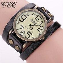 CCQ Brand Fashion Vintage Cow Leather Bracelet Watches Women Dress Wristwatch Quartz Watch Relogio Feminino