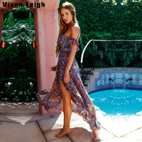 Viven Leigh Boho Print Summer 2017 Beach Tunic Long Maxi Dress Women Dresses Ruffle Backless Sexy