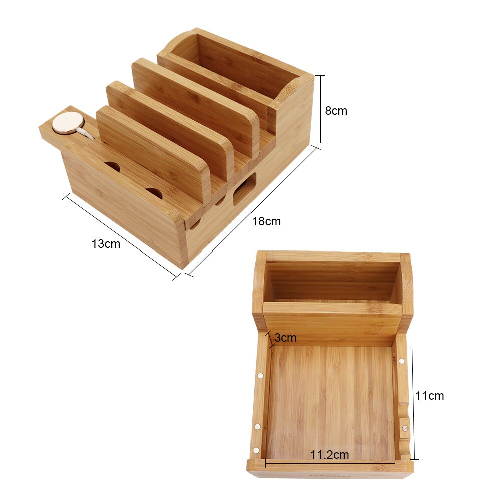 Image 5 - iCozzier Bamboo Charging Station Dock Desktop Organizer Holder for iPad,iWatch Stand Cord Organizer MultiDevices Docking Station-in Home Office Storage from Home & Garden