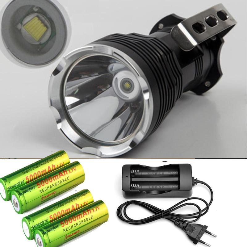 3500lM Portable Led Searching Lamp Cree T6 Long Range Led Flashlight Caving Light Flash Light Torch +4x18650 battery +charger