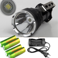 3500lM Portable Led Searching Lamp Cree T6 Long Range Led Flashlight Caving Light Flash Light Torch +4x18650 battery +charger