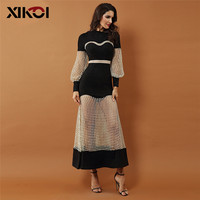 XIKOI New Luxury Evening Party Dresses Women Celebrity Gown Black Long Sleeve Lace Hollow Out Mesh Maxi Club Dresses Vestidos