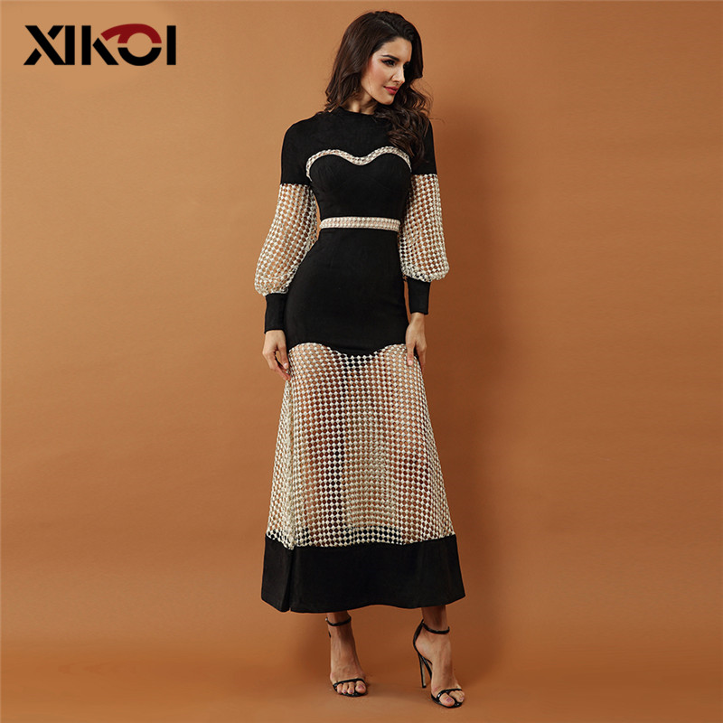 XIKOI nouvelles robes de soirée de luxe femmes robe de célébrité noir à manches longues dentelle évider maille Maxi Club robes Vestidos
