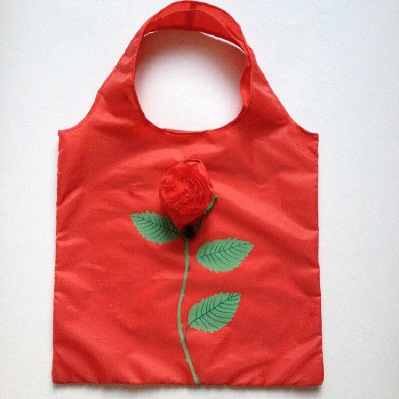 Chaude Éco De Stockage Sac À Main rose fleur Pliable Shopping Sacs D'épicerie Réutilisables Pliage Nylon Grand Sac 50 pcs/lot livraison gratuite