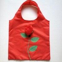 Hot Eco Przechowywania Torebka rose flower Składane Torby Na Zakupy Wielokrotnego Użytku Składane Spożywczy Nylon Duża Torba 50 sztuk/partia darmowa wysyłka